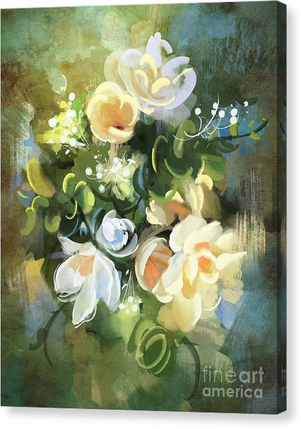 Bouquet Of Flowers,digital Canvas Print by Tithi Luadthong