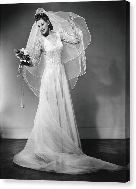 Wedding Bouquet Canvas Print - Bride Posing In Studio, B&w, Portrait by George Marks