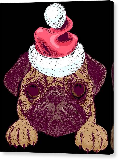 aa52b3eca5bf9 Stocking Stuffer Canvas Print - Cute Pug In A Christmas Santa Hat by Louise  Lench