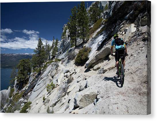 Canvas Print - Cyclist On Mountain Road, Lake Tahoe by Panoramic Images