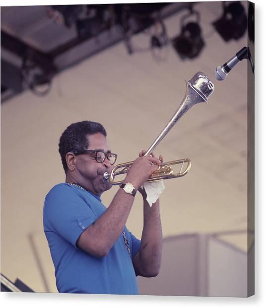 Dizzy Gillespie Performs At Newport Canvas Print by David Redfern