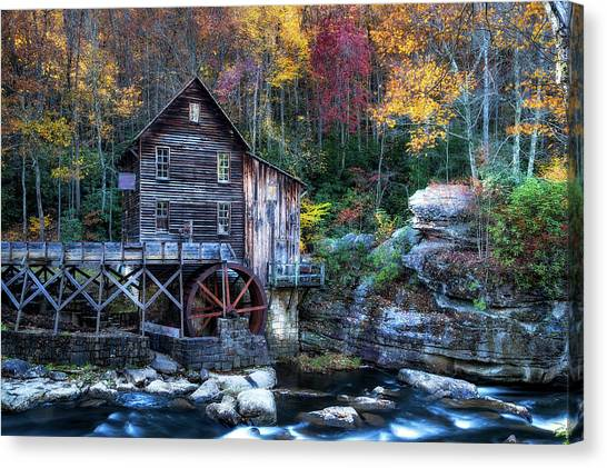 Canvas Print featuring the photograph Glade Creek Grist Mill  by Pete Federico