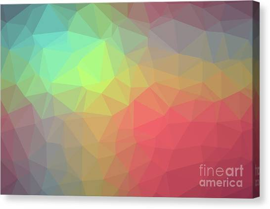 Gradient Background With Mosaic Shape Of Triangular And Square C Canvas Print