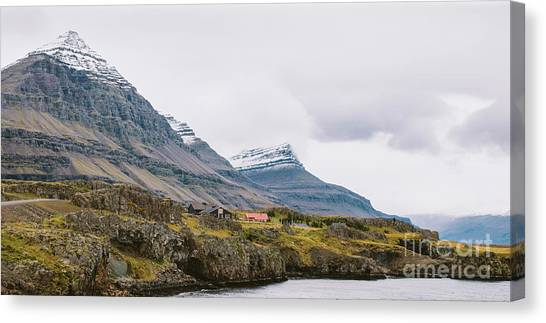 High Icelandic Or Scottish Mountain Landscape With High Peaks And Dramatic Colors Canvas Print