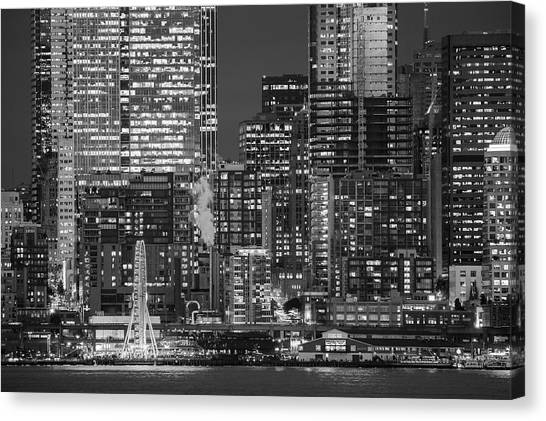 Canvas Print - Illuminated City At Night, Seattle by Panoramic Images