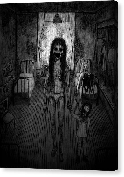 Jessica And Her Broken Doll - Artwork Canvas Print