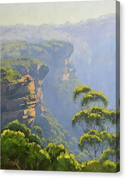 Sister Canvas Print - Katoomba Cliffs by Graham Gercken