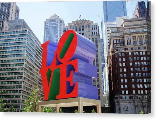 Canvas Print featuring the photograph Love In The City - Philadelphia by Bill Cannon