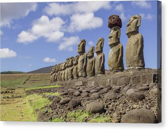 Moai Statues At Ahu Tongariki, Easter Canvas Print
