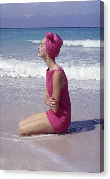 Model On The Beach Canvas Print by Gordon Parks