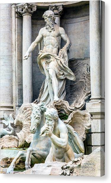 Neptune, Nymphs, Seahorse Statues Canvas Print by William Perry