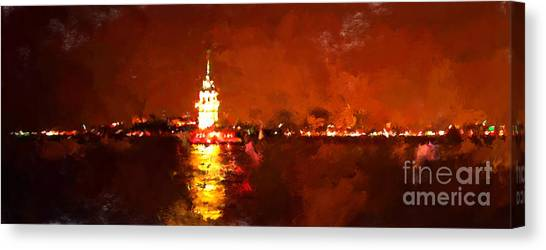 Acrylic Canvas Print - Oil Paint Istanbul View Bosphorus by Trentemoller