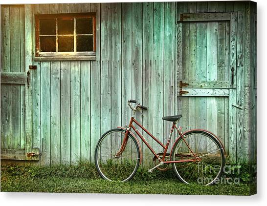 Basket Canvas Print - Old Bicycle Leaning Against Grungy Barn by Sandra Cunningham