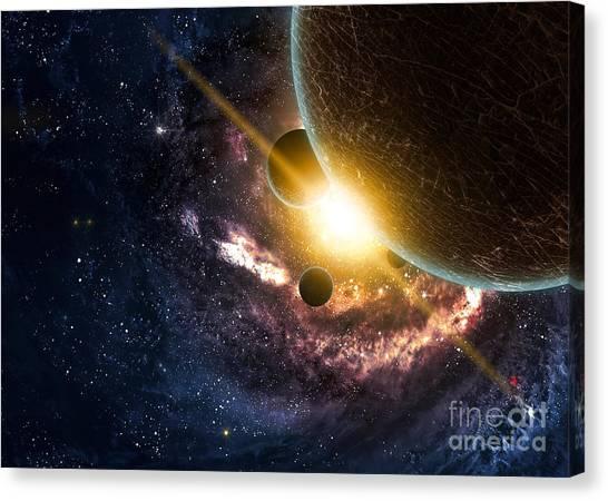 Sun Canvas Print - Planets Over The Nebulae In Space by Vadim Sadovski