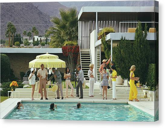 Poolside Party Canvas Print by Slim Aarons