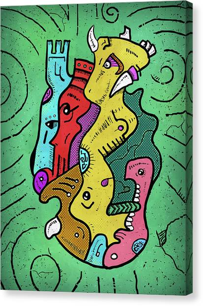 Canvas Print featuring the digital art Psychedelic Animals by Sotuland Art