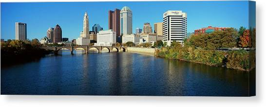 Scioto River And Columbus Ohio Skyline Canvas Print by Visionsofamerica/joe Sohm