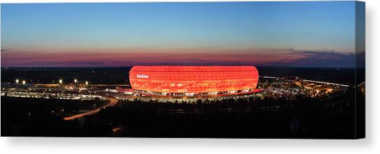 Canvas Print - Soccer Stadium Lit Up At Dusk, Allianz by Panoramic Images