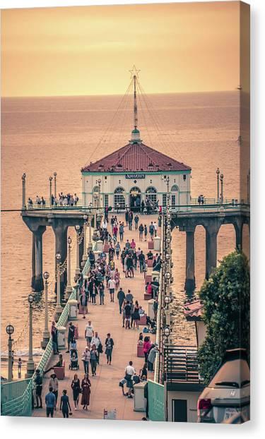Canvas Print featuring the photograph Sunset On Huntington Beach California by Alex Grichenko