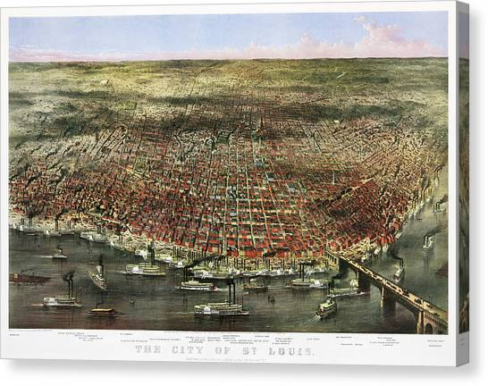 St Ives Canvas Print - The City Of St. Louis, 1874 by Currier and Ives