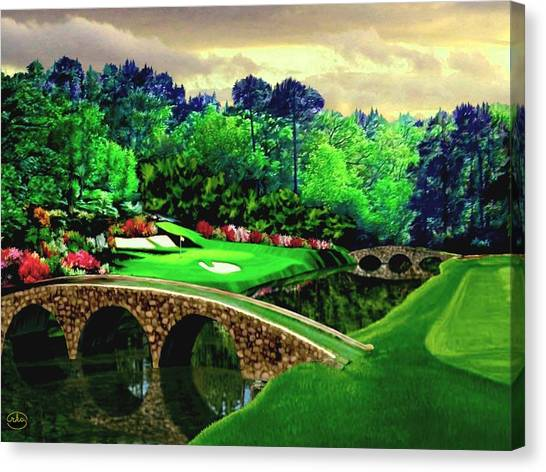 Arnold Palmer Canvas Print - The Masters 12th Hole by Ron Chambers