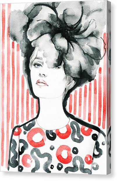 Sensual Canvas Print - Woman Portrait .abstract Watercolor by Anna Ismagilova
