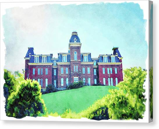 West Virginia University Wvu Canvas Print - Woodburn Hall At West Virginia University In Morgantown Wv by Steven Heap
