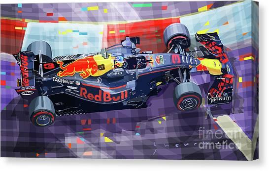 2017 Singapore Gp F1 Ricciardo   Canvas Print by Yuriy Shevchuk