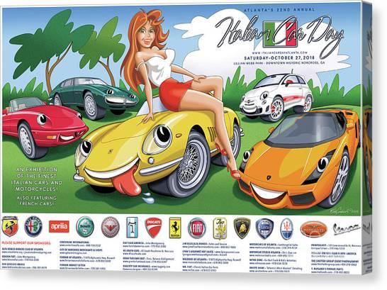 2018-2019 Atlanta Italian Car Day Poster Canvas Print