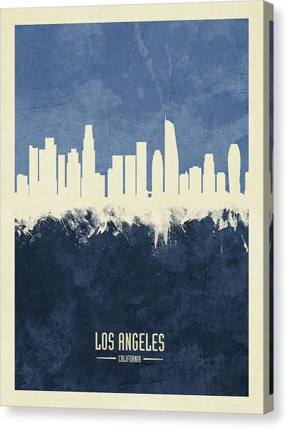 Los Angeles Skyline Canvas Print - Los Angeles California Skyline by Michael Tompsett