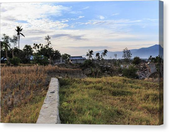 Tsunamis Canvas Print - A Sunny Morning At The Village Petobo Lost Due To Liquefaction by Mangge Totok