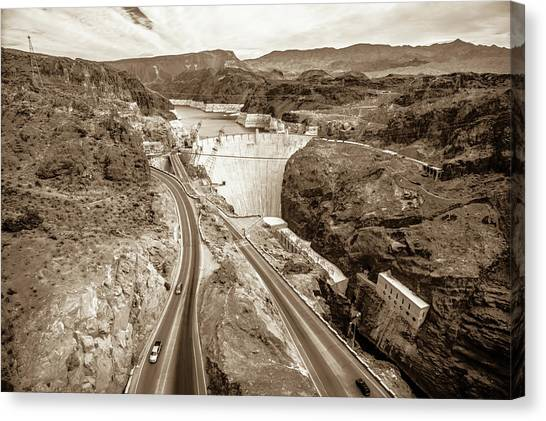 Canvas Print featuring the photograph Wandering Around Hoover Dam On Lake Mead In Nevada And Arizona by Alex Grichenko