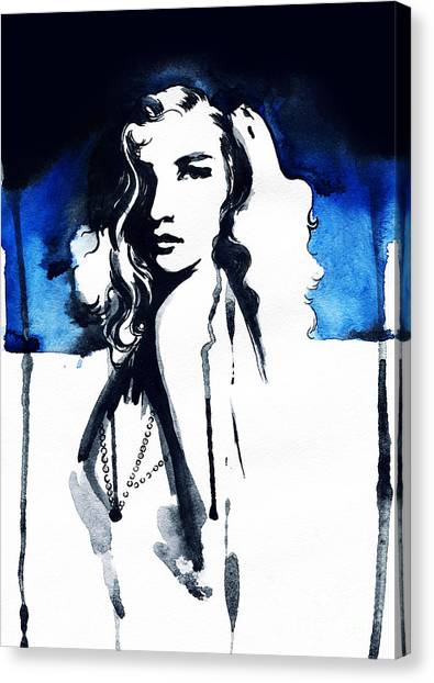 Fitness Canvas Print - Woman Face. Hand Painted Fashion by Anna Ismagilova
