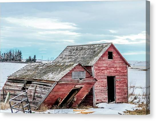A Sign Of The Times, Run Diown Farm Out Buildings And Barns, Alb Canvas Print