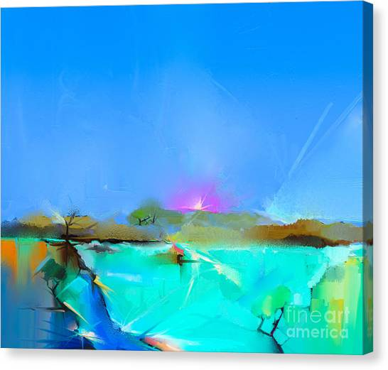 Media Canvas Print - Abstract Colorful Oil Painting by Pluie r