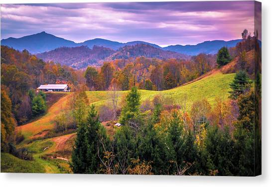 Canvas Print featuring the photograph Autumn Season And Sunset Over Boone North Carolina Landscapes by Alex Grichenko