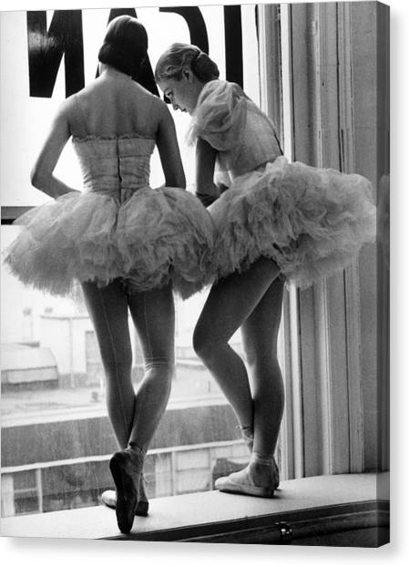 Ballerinas Standing On Window Sill In Canvas Print
