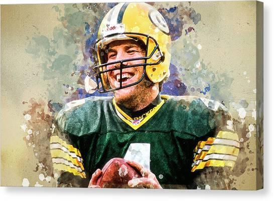 Brett Favre Canvas Print - Brett Favre .green Bay Packers. by Anna J Davis