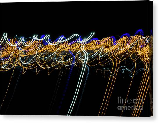 Colorful Light Painting With Circular Shapes And Abstract Black Background. Canvas Print