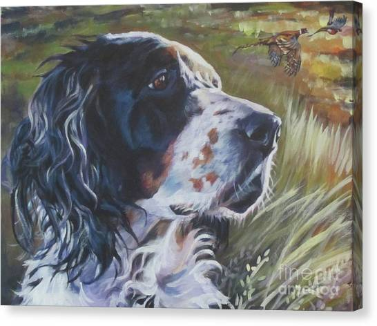 Pheasants Canvas Print - English Setter In The Field by Lee Ann Shepard