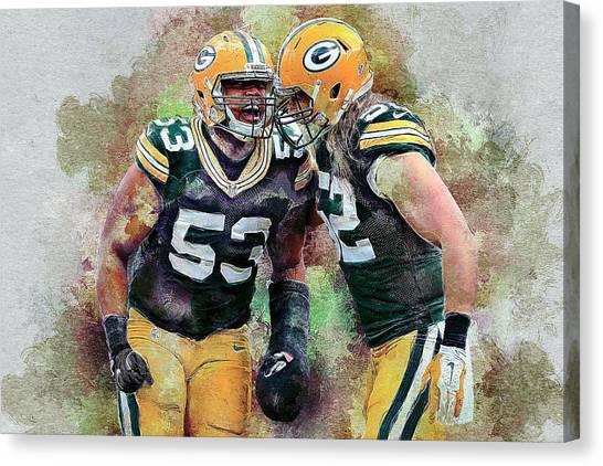 Clay Matthews Canvas Print - Green Bay Packers by Anna J Davis
