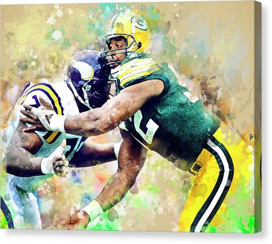 Reggie White Canvas Print - Reggie White. Green Bay Packers. by Anna J Davis