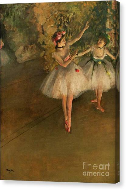 Two Dancers On A Stage Canvas Print