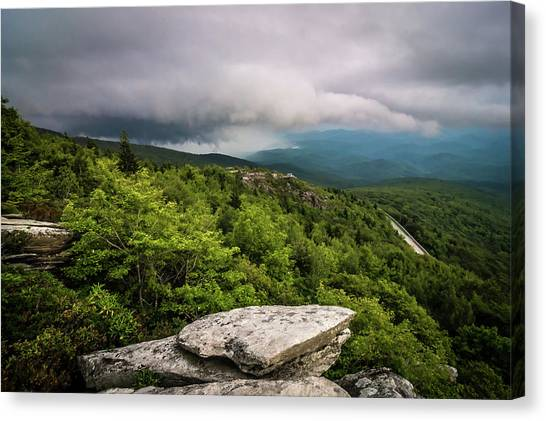 Canvas Print featuring the photograph Rough Ridge Overlook Viewing Area Off Blue Ridge Parkway Scenery by Alex Grichenko