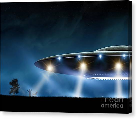 Nature Canvas Print - 3d Rendering Of Flying Saucer Ufo On by Oorka