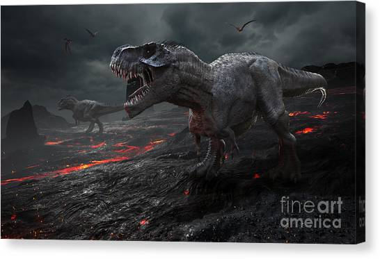 Powerful Canvas Print - 3d Rendering Of The Extinction Of The by Herschel Hoffmeyer
