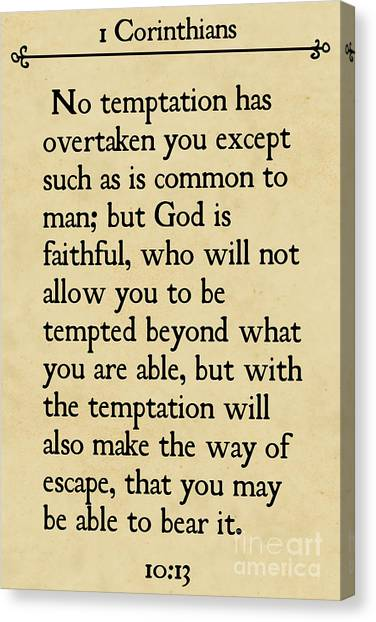 1 Corinthians 10 13- Inspirational Quotes Wall Art Collection Canvas Print