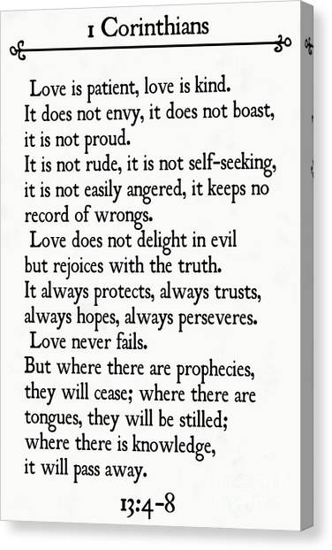 1 Corinthians 13 4-8- Inspirational Quotes Wall Art Collection Canvas Print