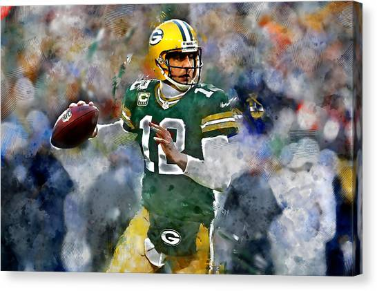 Drew Brees Canvas Print - Aaron Rodgers by Marvin Blaine