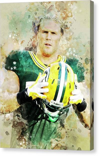 Clay Matthews Canvas Print - Clay Matthews IIi. Green Bay Packers. by Anna J Davis